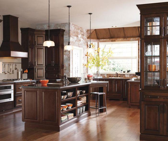 Dark cherry kitchen cabinets by Diamond Cabinetry