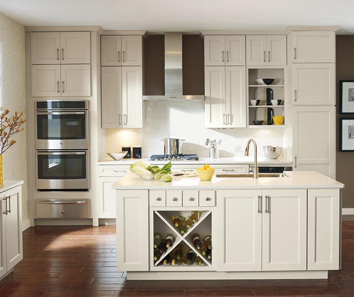 Off white Caldera cabinets in casual kitchen