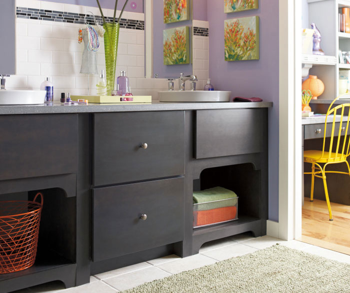 Casual bathroom with dark grey cabinets by Diamond Cabinetry