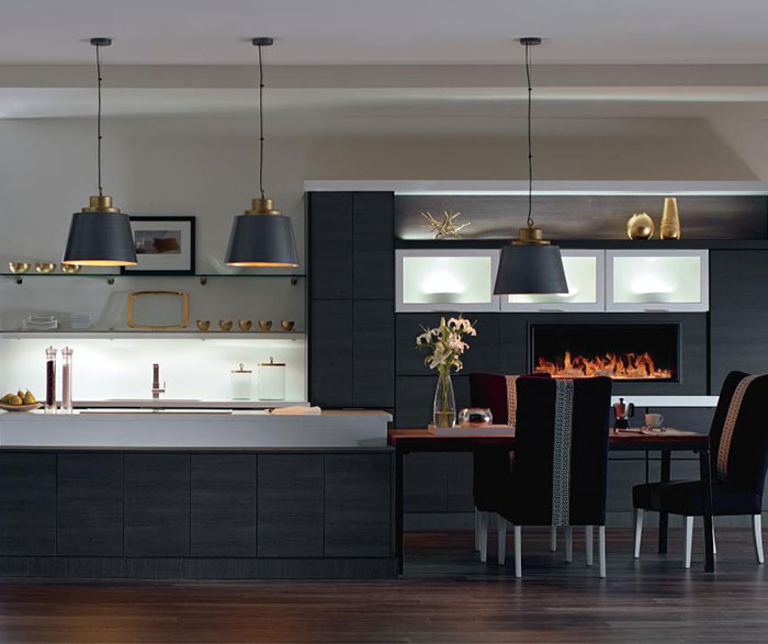 Contemporary laminate kitchen cabinets in woodgrain Obsidian finish